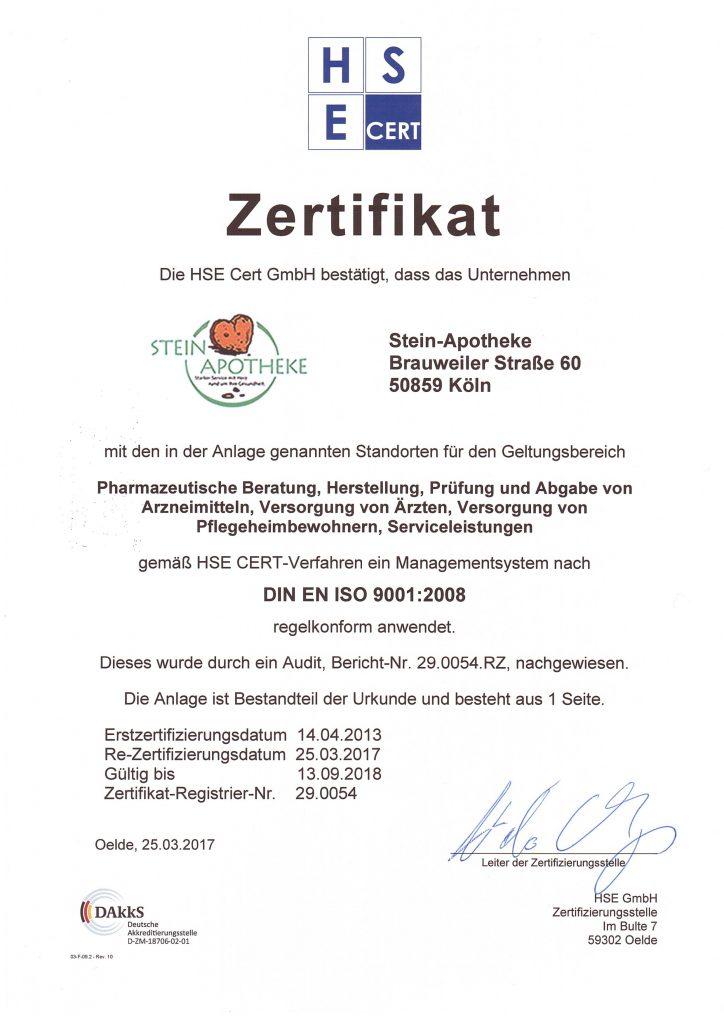 Unser Zertifikat - Stein Apotheke - Köln-Lövenich